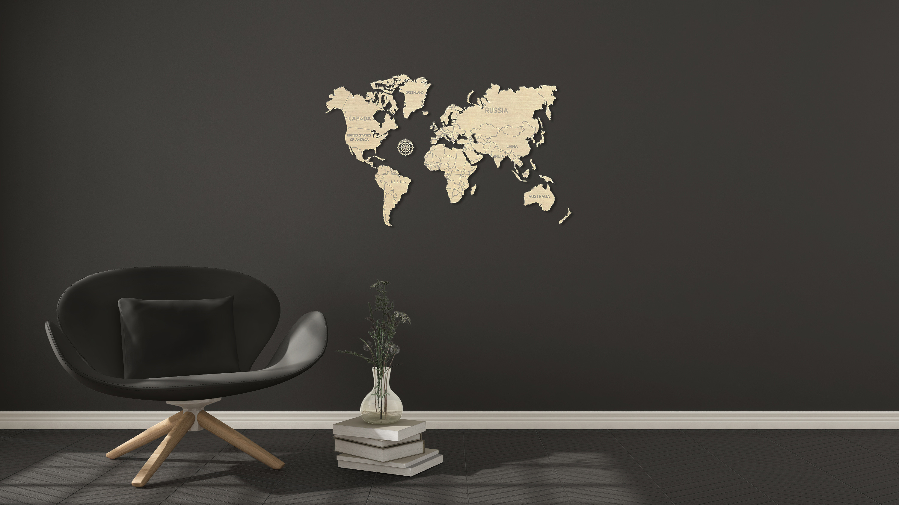 M World map 3D puzzles Grey background