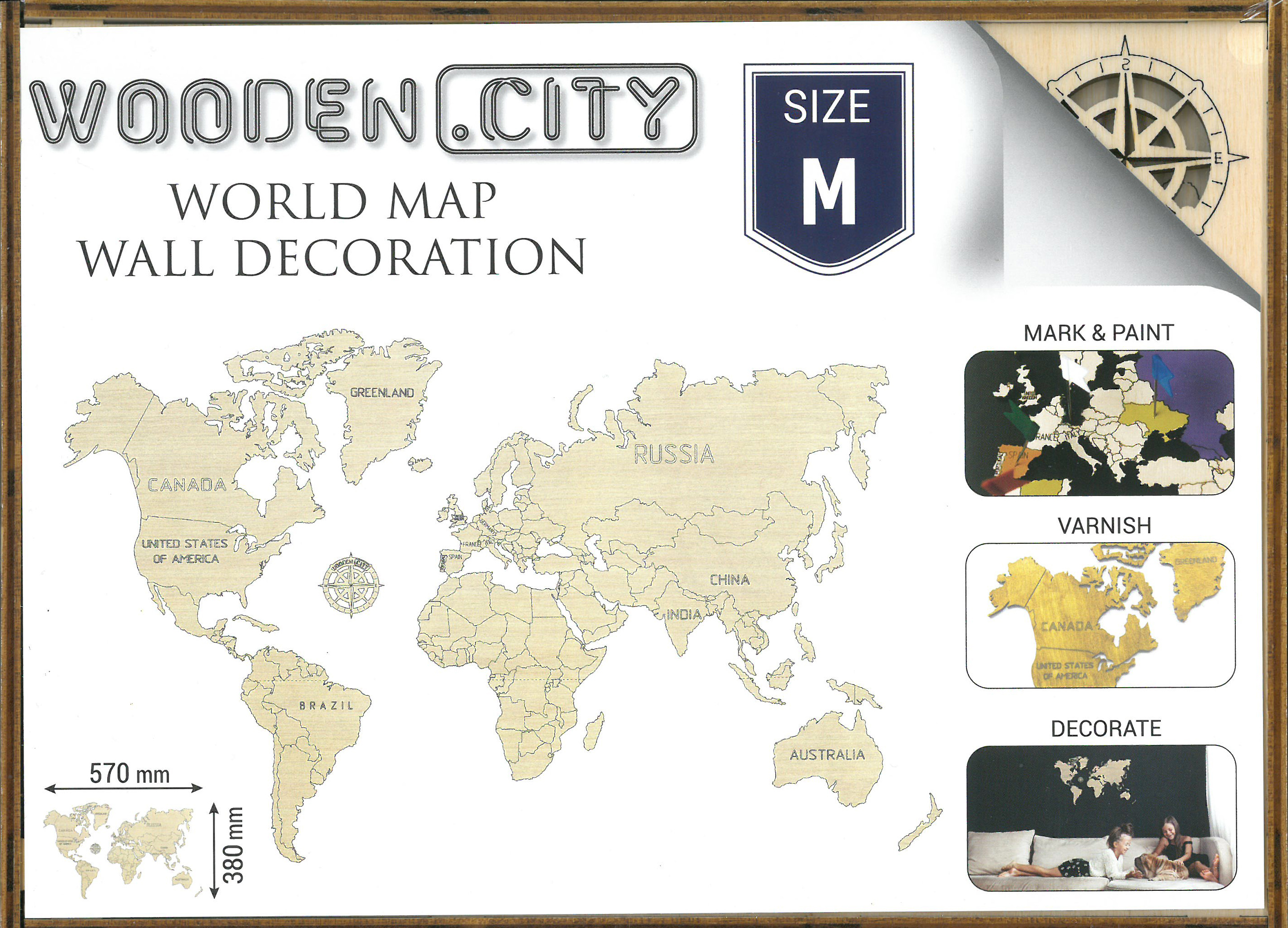 M World map 3D box