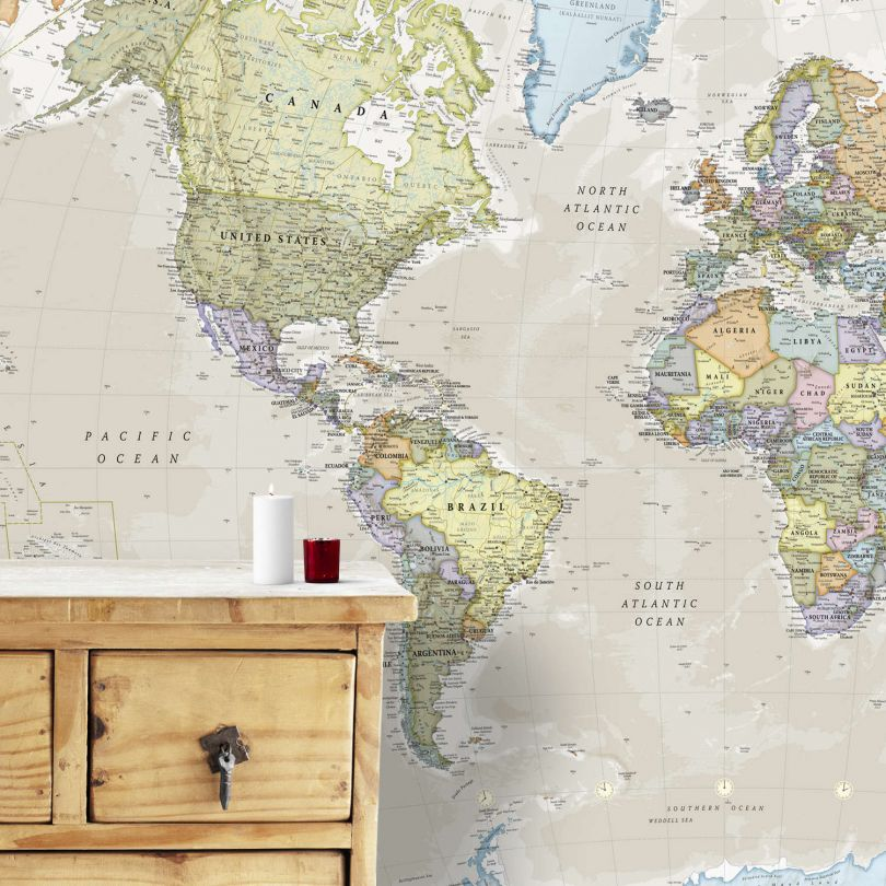 Classic World Map Mural