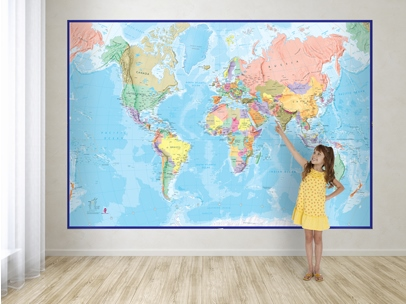 World Map Mural Blue ocean